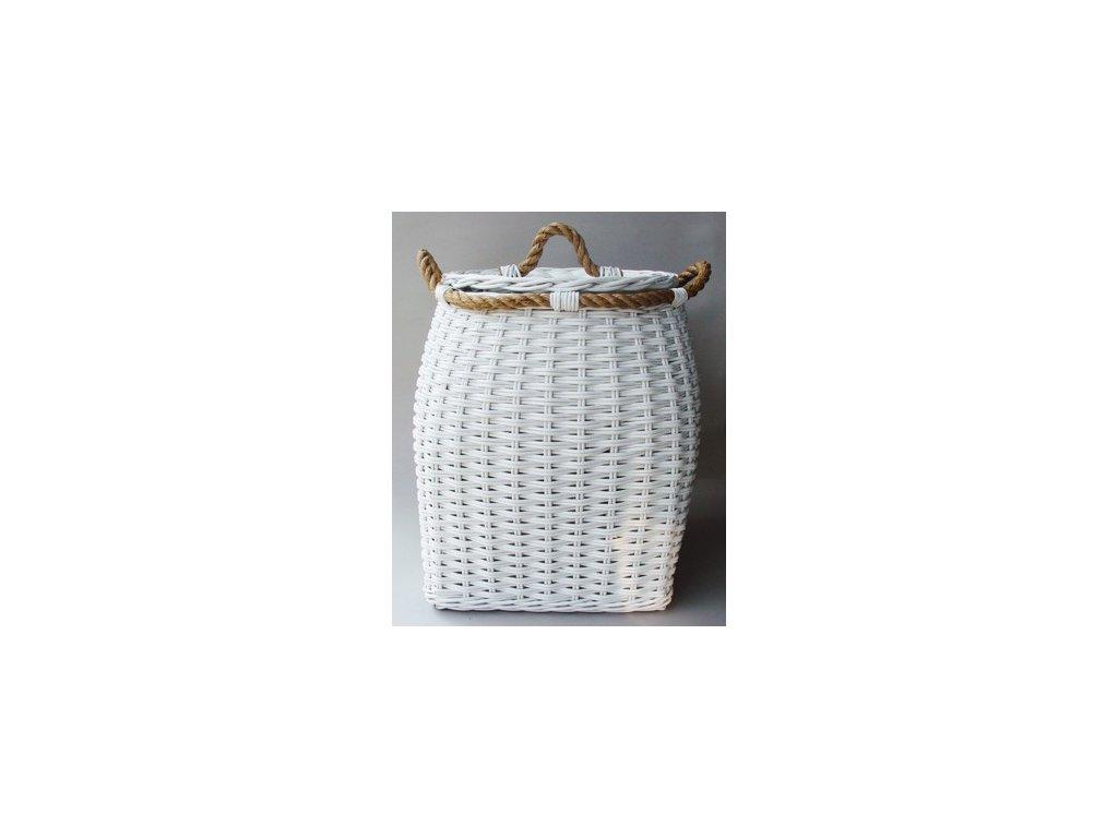 Ratanový koš BELLY kulatý 50x50x56 cm bílý