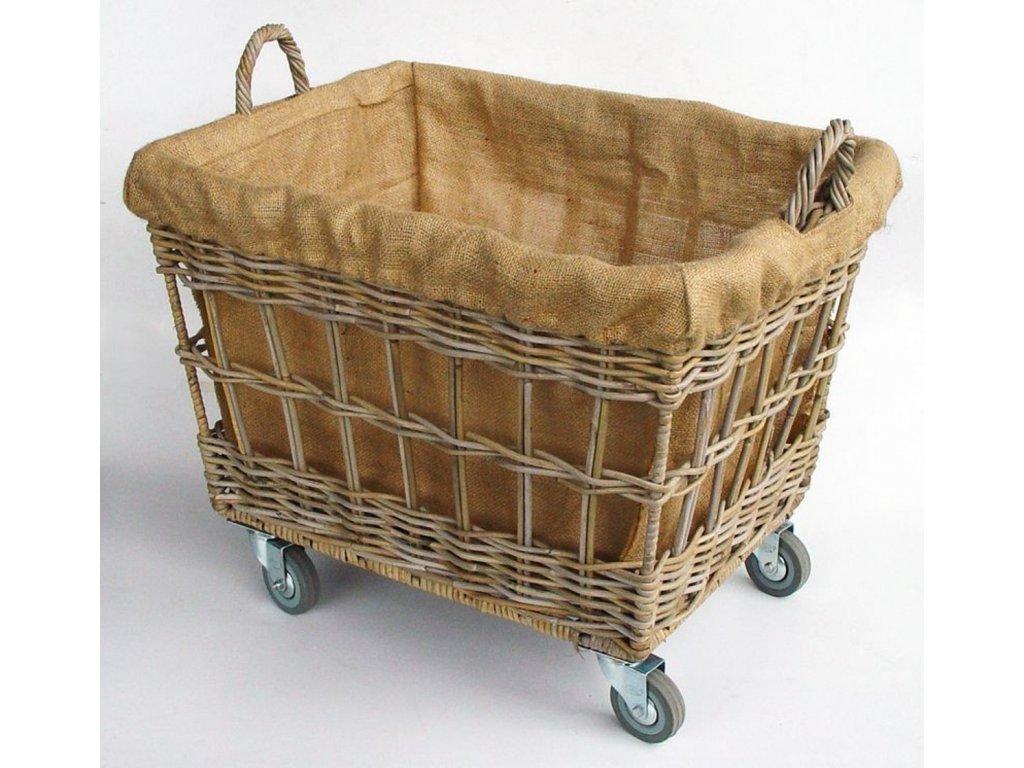 Ratanový prádelní koš WASMAND grey na kolečkách / látka