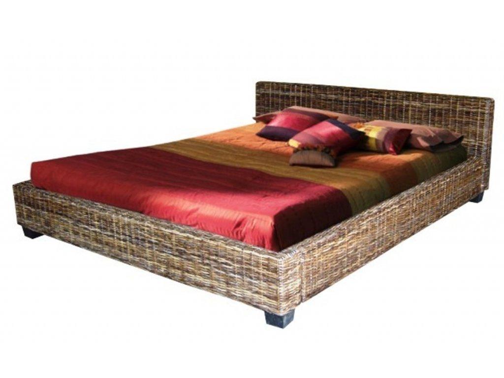 Manželská ratanová postel DIMA 200x180 černý ratan