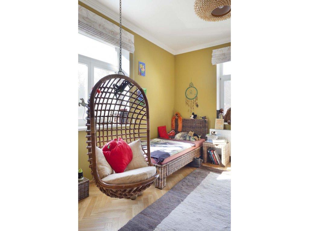 Ratanová postel 200x90  Sarang Buaya (černý ratan)