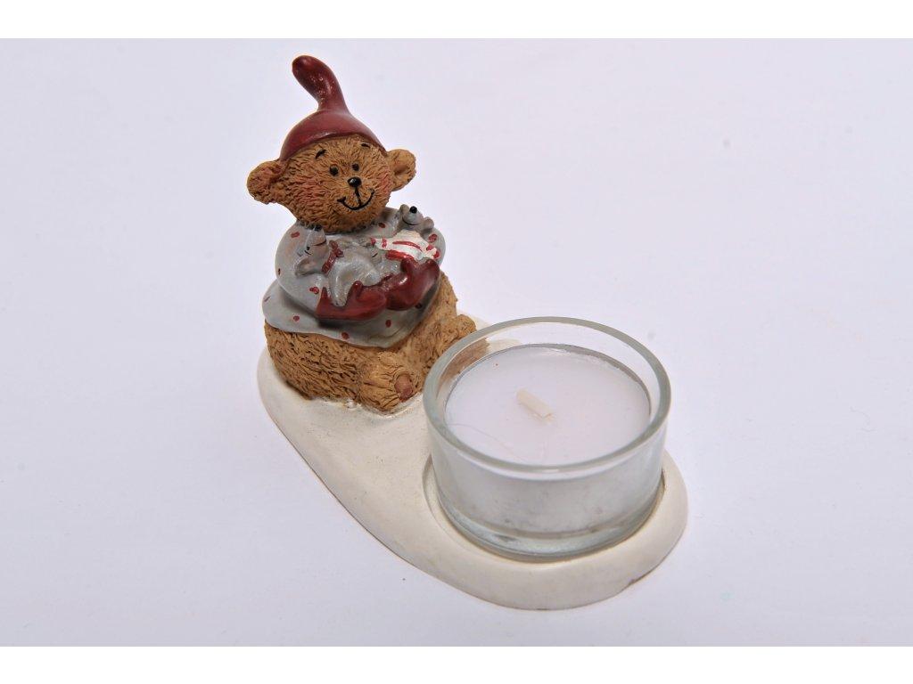 Vánoční méďa - svícen na čajovou svíčku