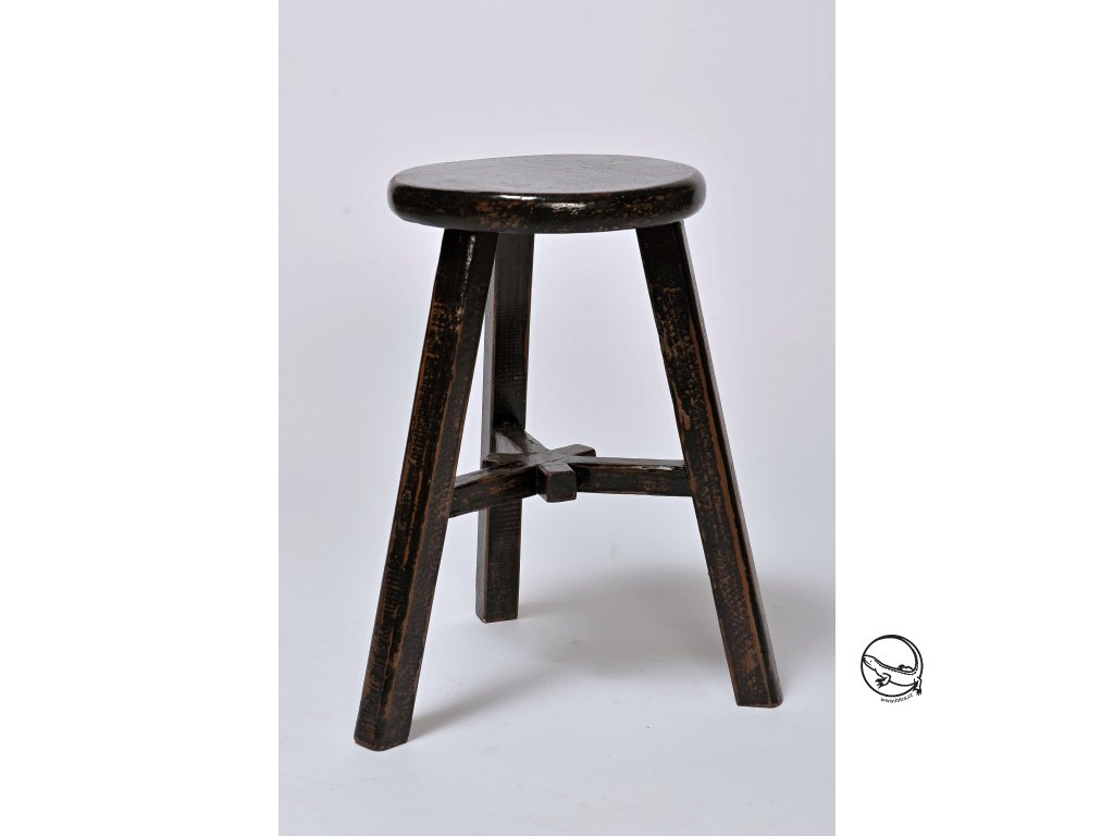 Dřevěná stolička kulatá/ černá