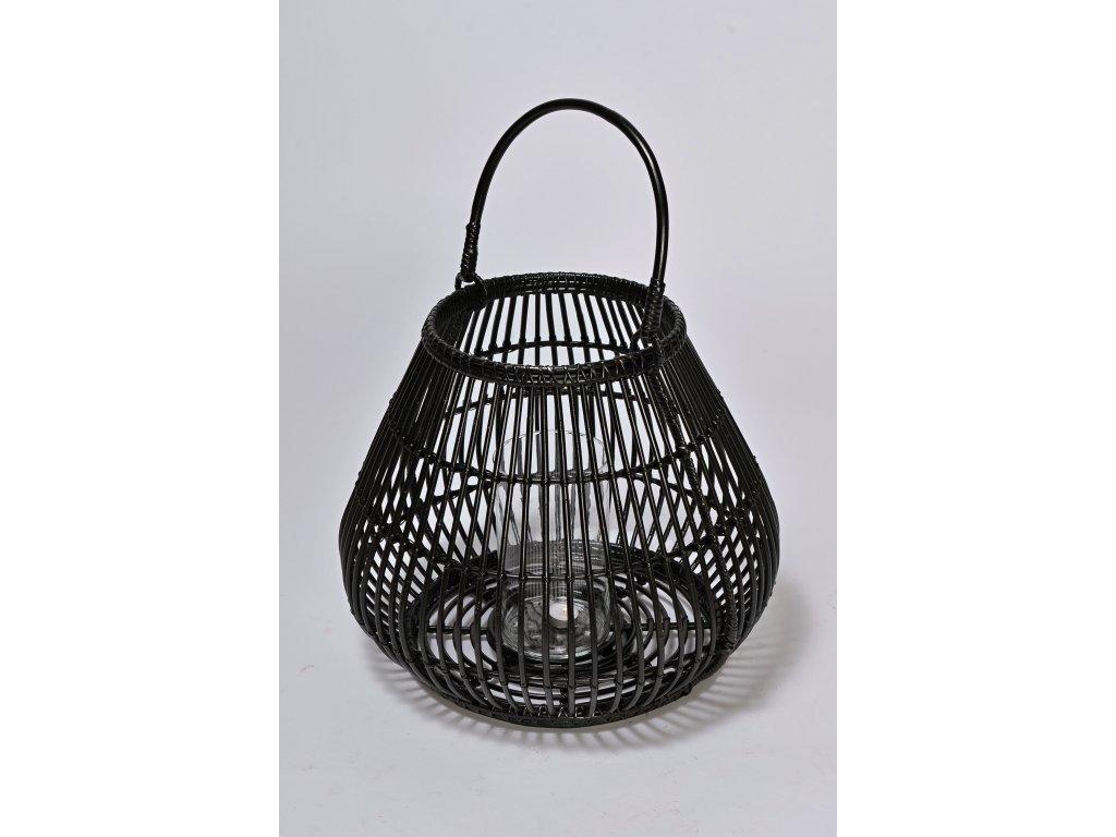 Ratanová svítilna černá