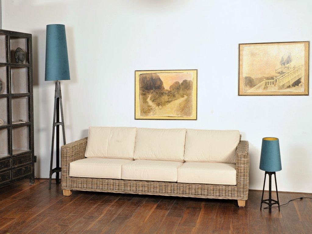 Ratanové sofa CASTILA kubu grey vč.polstru