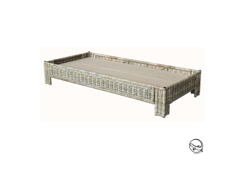 Ratanová postel 90x200 kubu grey