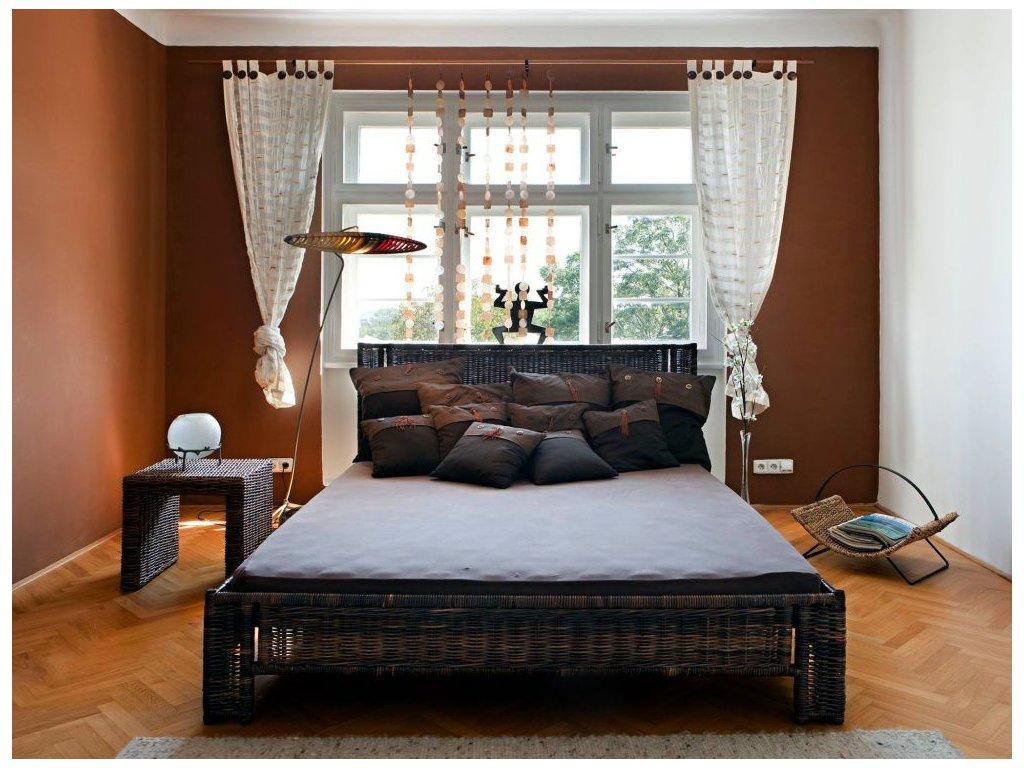 Manželská ratanová postel 160x200 černý ratan NEW