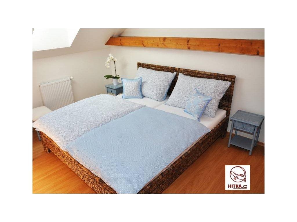 Manželská ratanová postel 140x200 kubu grey