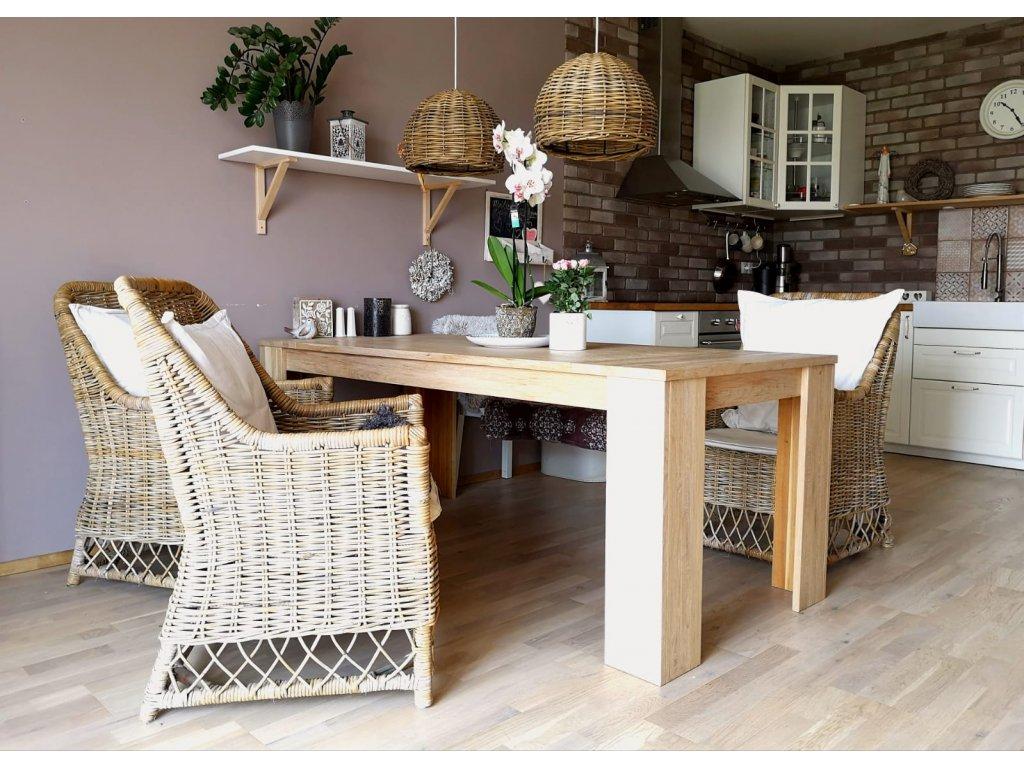 Dubový jídelní stůl 200x90 - šedá patina