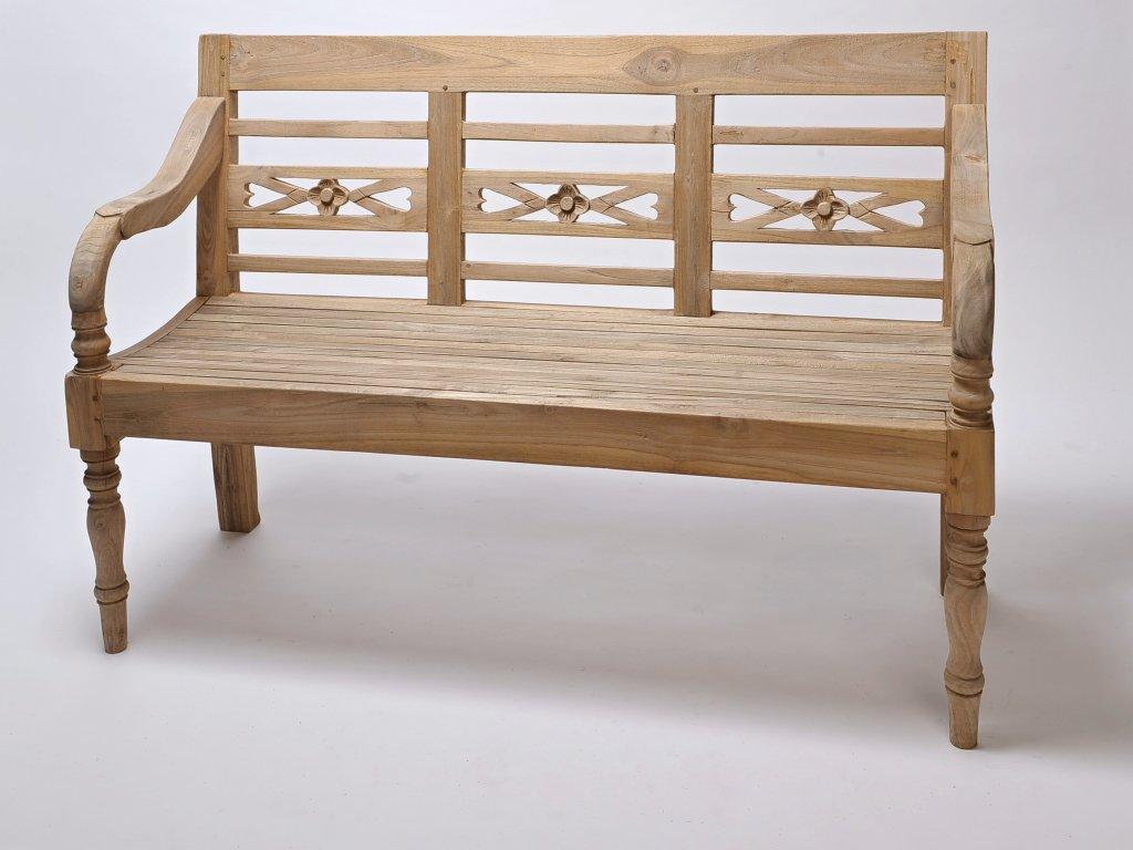 Masivní teaková lavice M - venkovní
