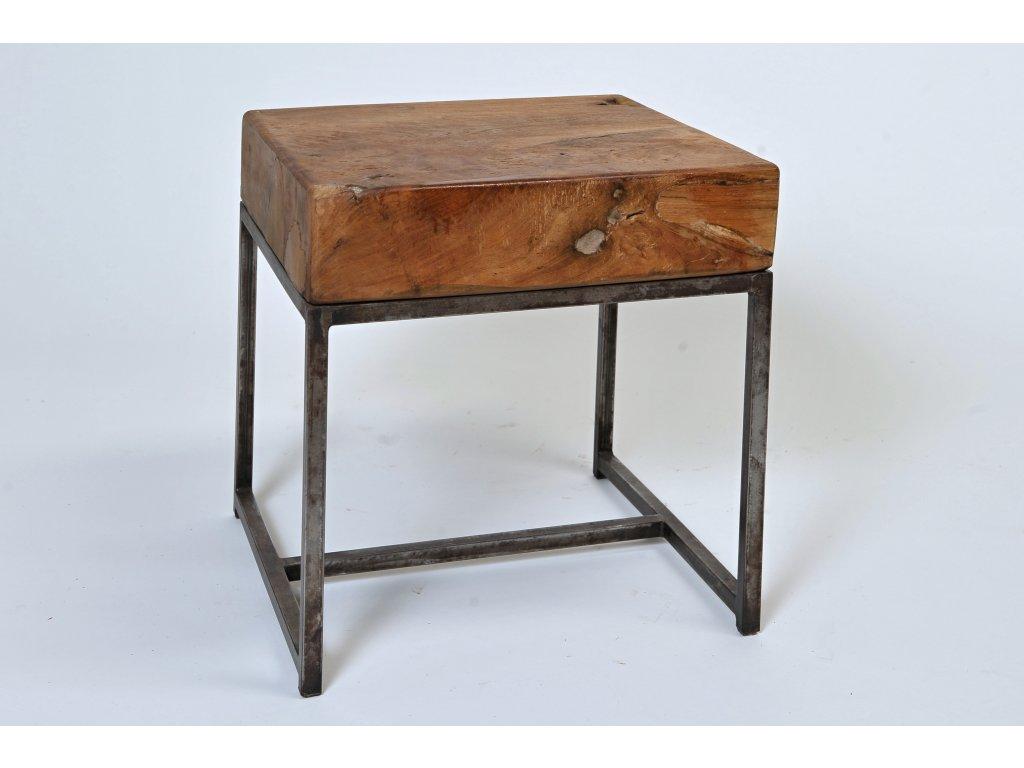 stůl teak masiv s kovovou podnoží (1)