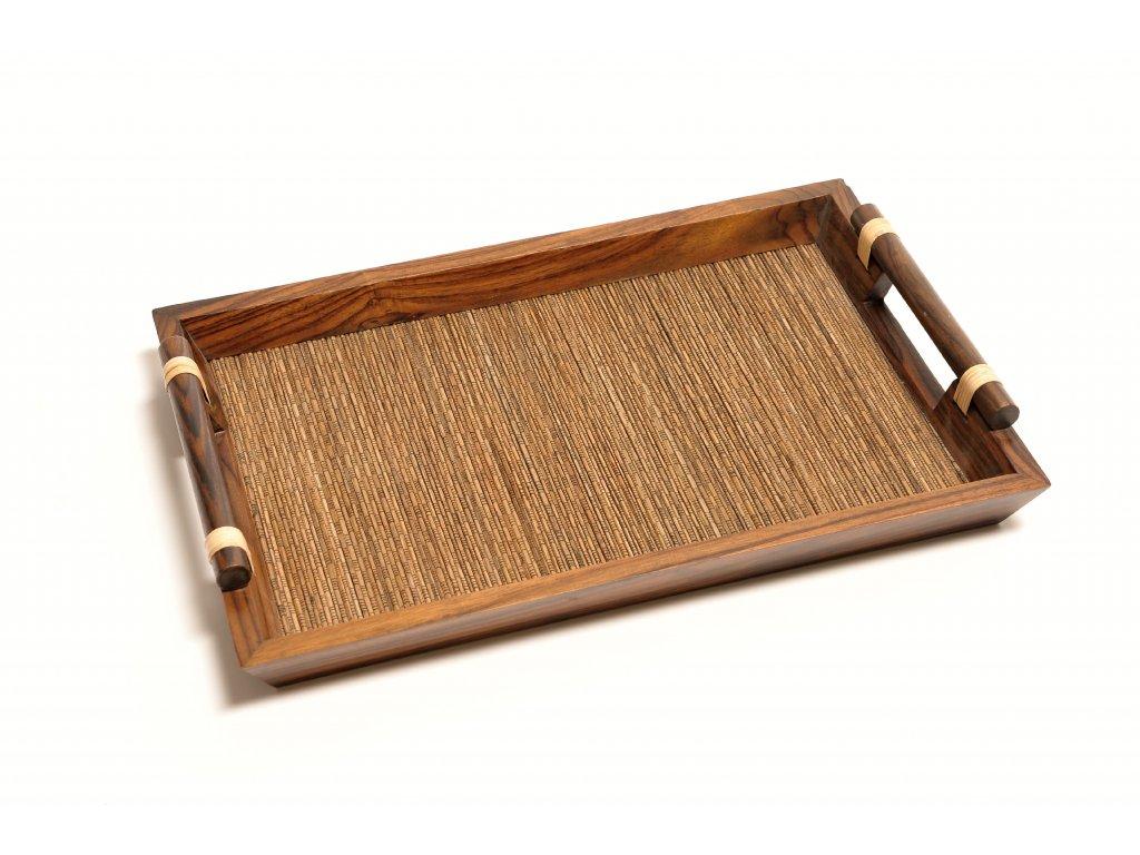 Ratanový tác BALI kombinace se dřevem velký