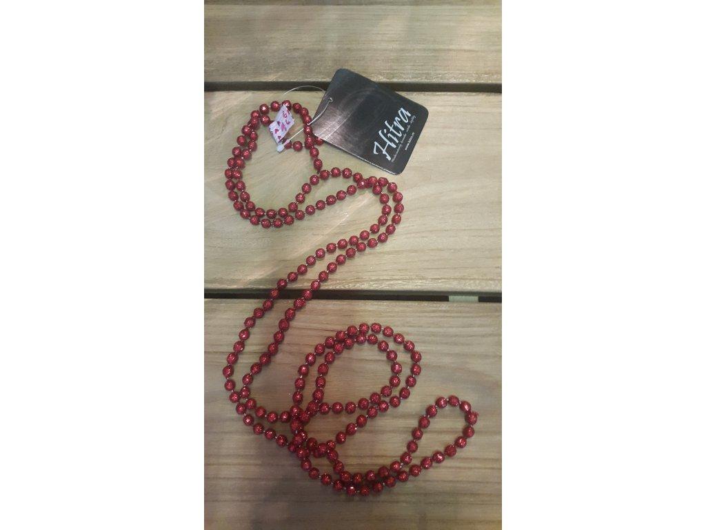 Vánoční girlanda perly stříbrnné, červené