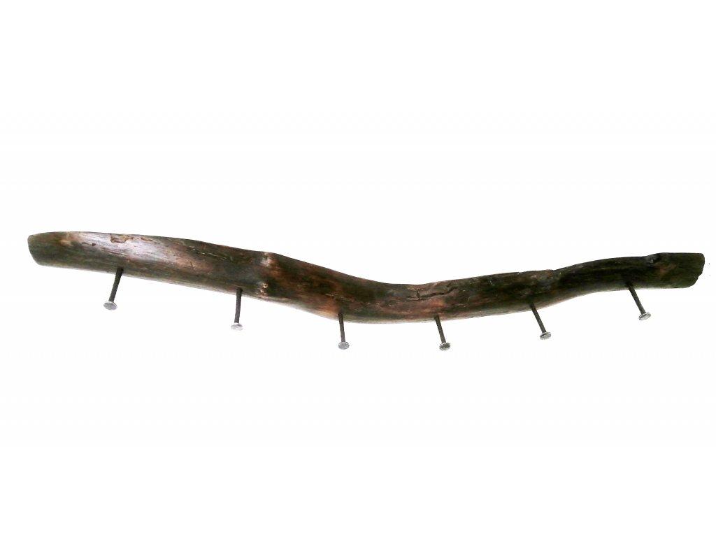 Dřevěný věšák KOŘEN s kovanými háčky 6
