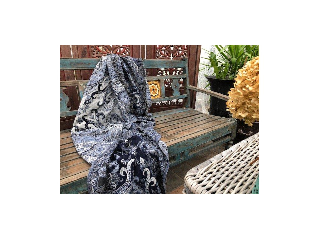 Vlněná deka hřejivá modrá