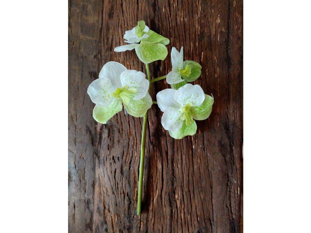 Květina / větev orchidej zeleno-bílá 26cm