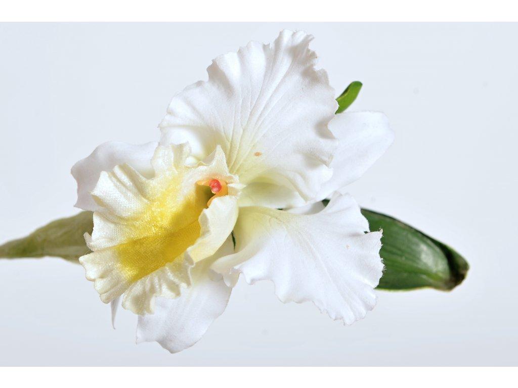 Květina větev orchidej CATTLEYA krémová 28cm (2)