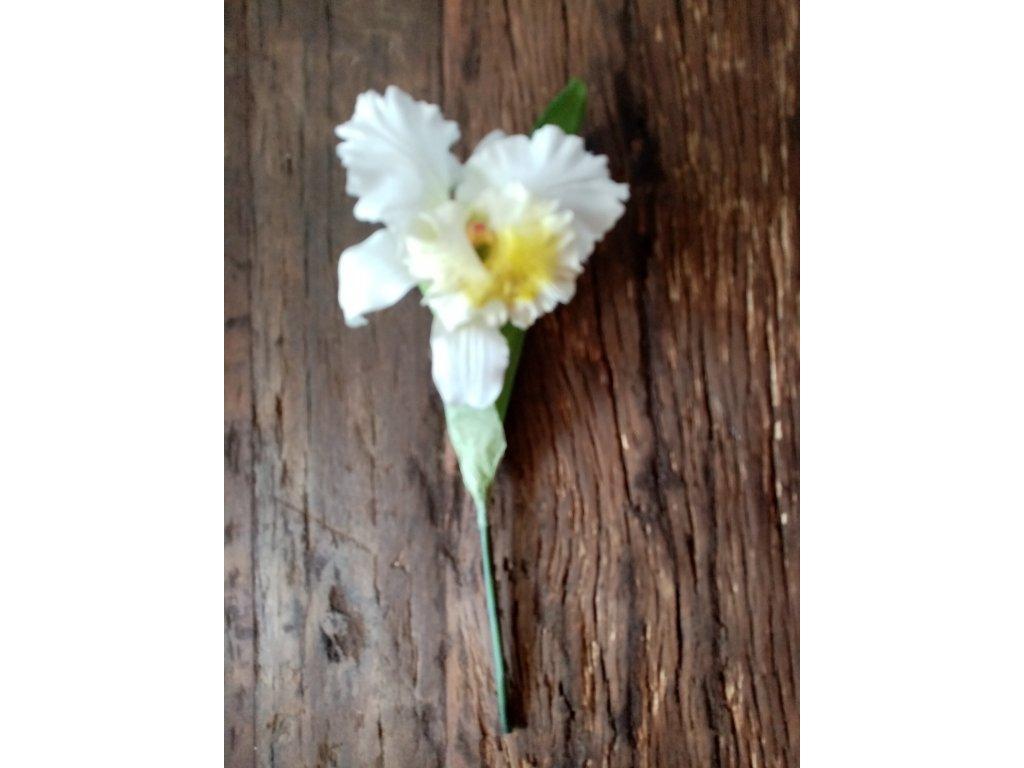 Květina  / větev orchidej CATTLEYA krémová 28cm