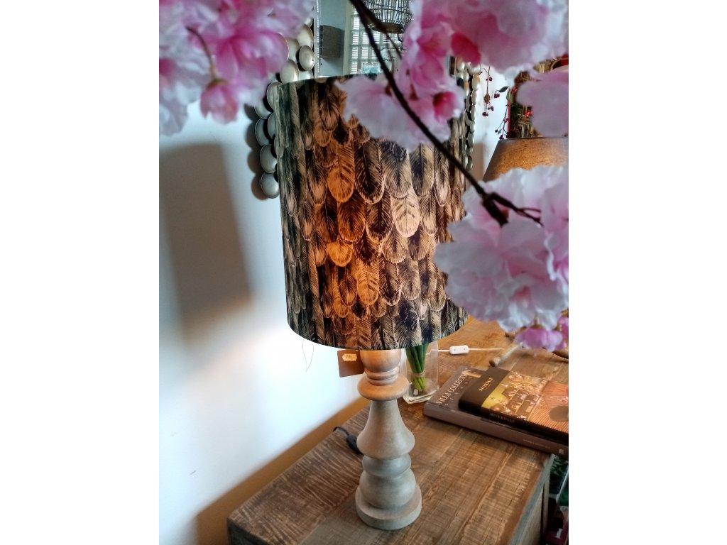 Stínidlo k lampě semiš s dekorem orlí pera