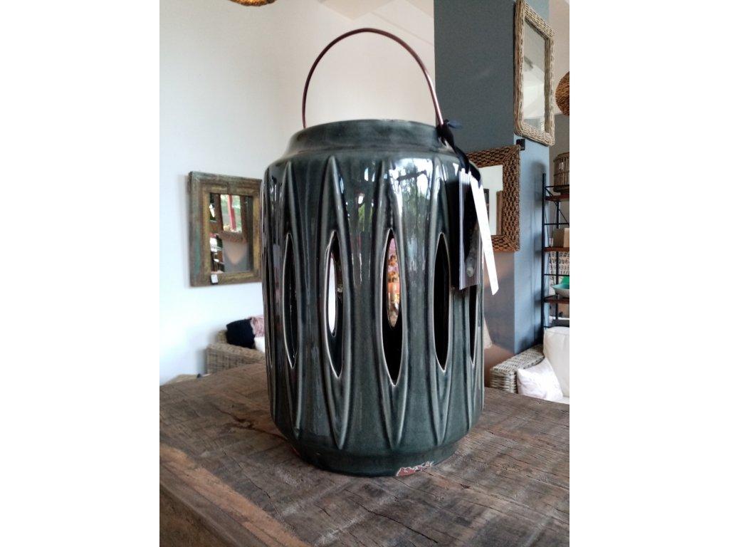 Svítilna keramická RIVERDALE v pertrolejové barvě