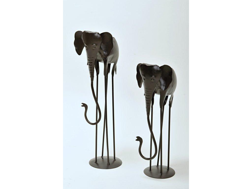Slon černý kovový malý
