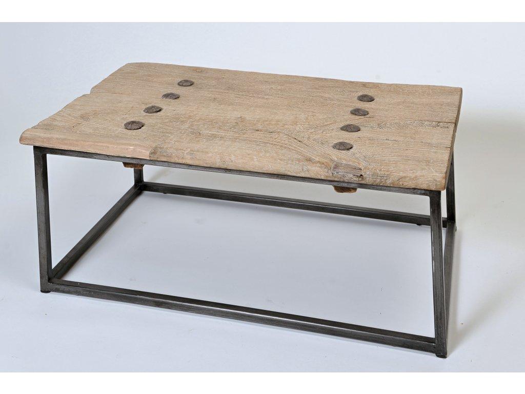 Dřevěný konferenční stůl 87x55x38 bělený