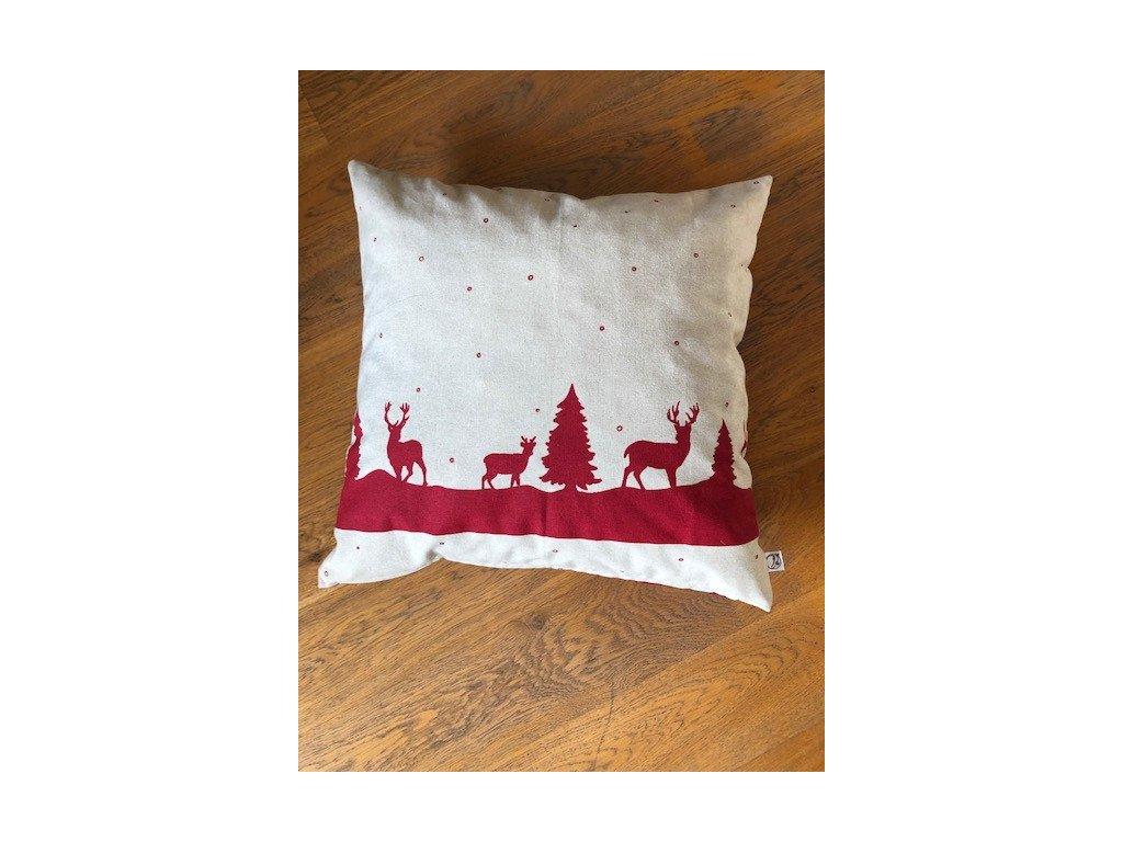 Vánoční polštář HELENA červený vč. výplně 50x50cm
