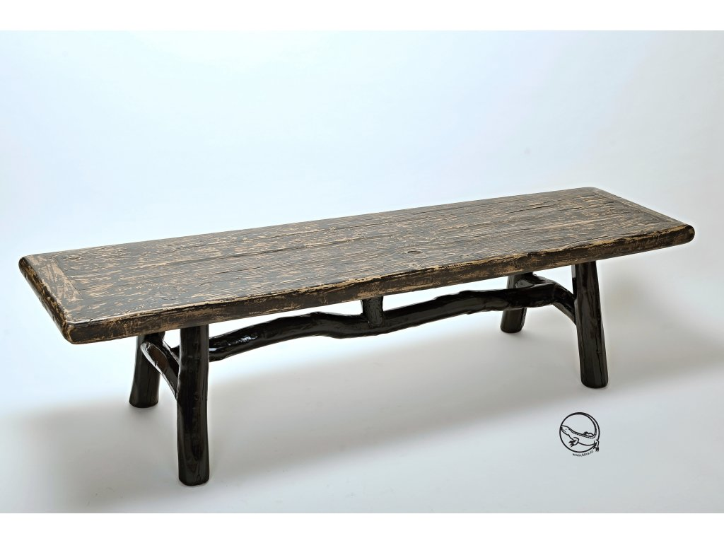 Dřevěná lavice - černá patina