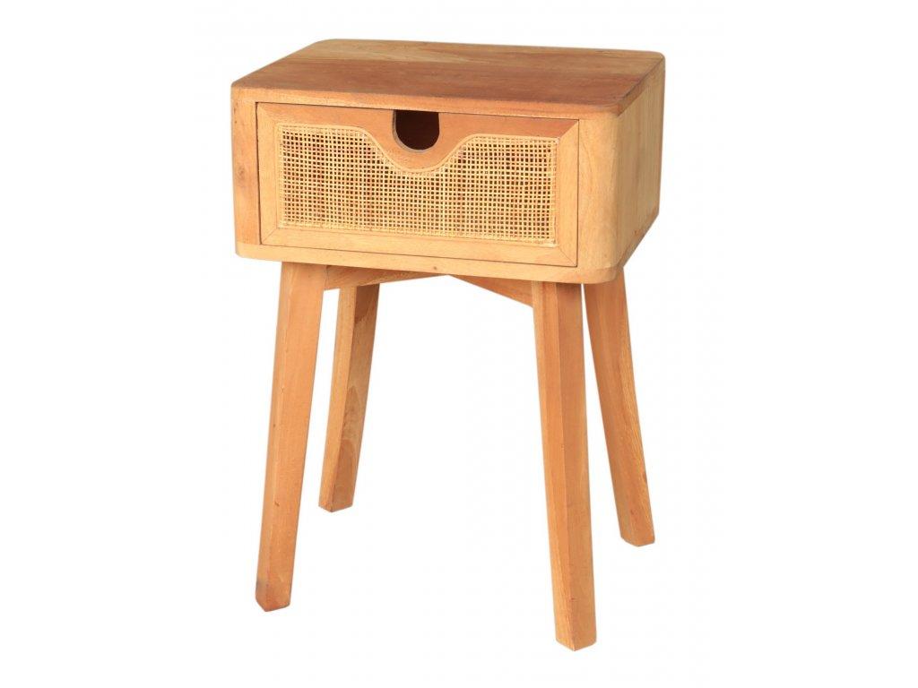 Dřevěný noční stůl s výpletem