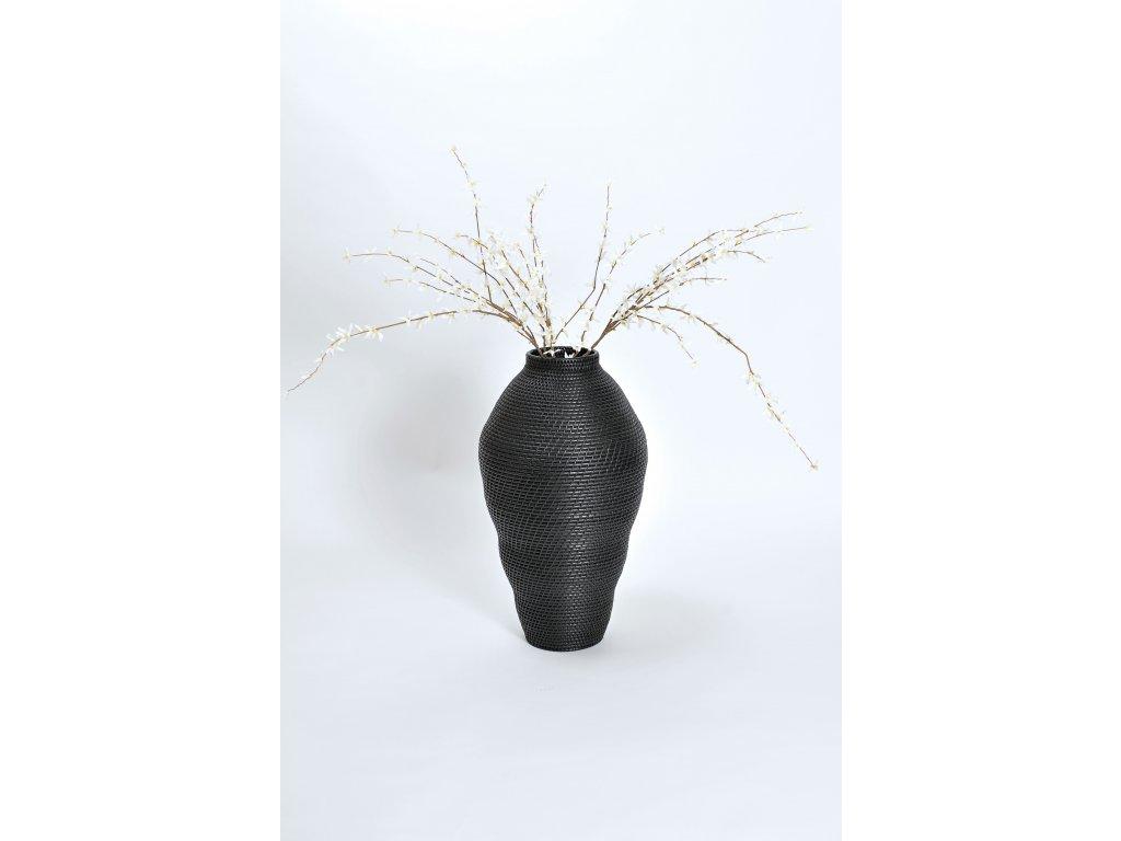 Ratanová váza Lombokon vysoká černá