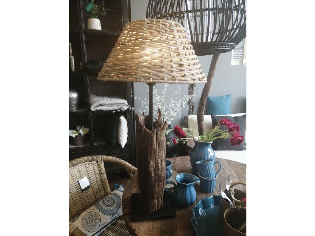 Dřevěná lampa KMEN vč. ratanového stínidla