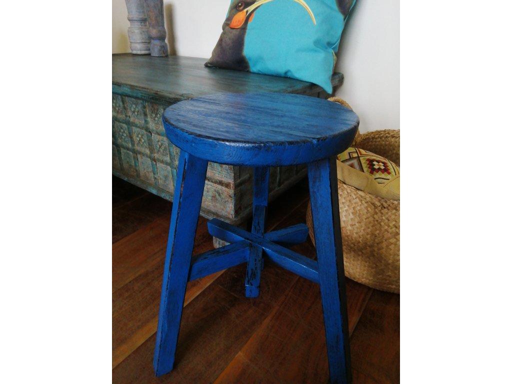 Dřevěná kulatá stolička barevná (15)