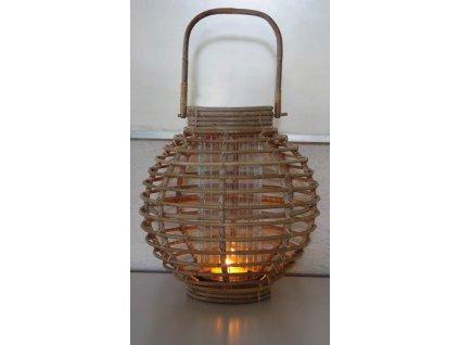 Ratanový lampion JAWIT grey kulatý + sklo