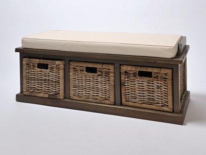 Ratanový botník / sedačka WOOD grey (3 x zásuvka)