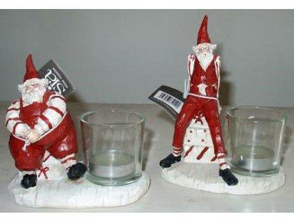 Vánoční svícen santa klaus červený