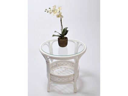 Ratanový stůl Petani white