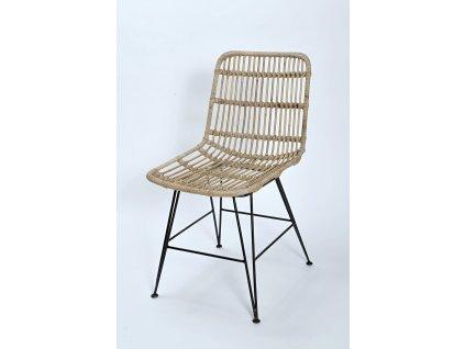 Ratanová jídelní židle kov CHARLOTE grey