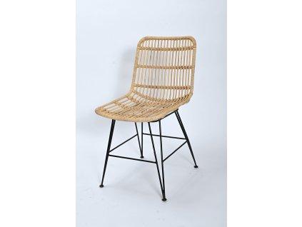 Ratanová jídelní židle kov CHARLOTE natur