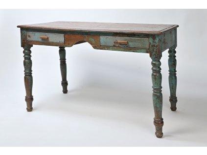 Dřevěný psací stůl ANTIK tyrkys