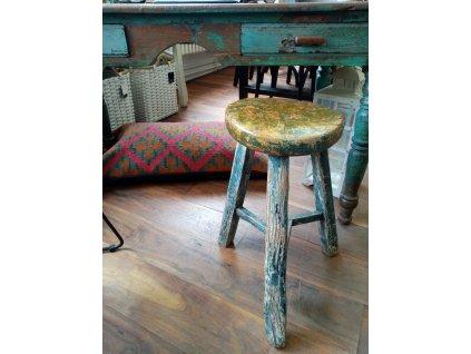 Dřevěná stolička/kulatá ANTIK