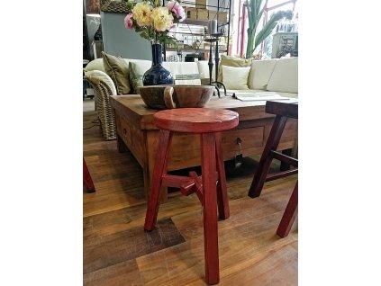 Dřevěná stolička červená kulatá