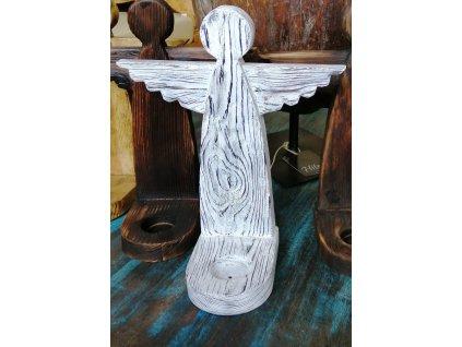 Dřevěný anděl JB se svícnem bělený