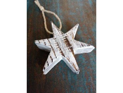 Dřevěná vánoční hvězda šesticípá bělená