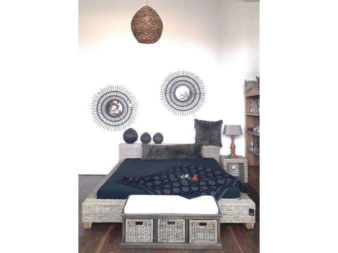 Manželská ratanová postel DIMA 180 kubu grey