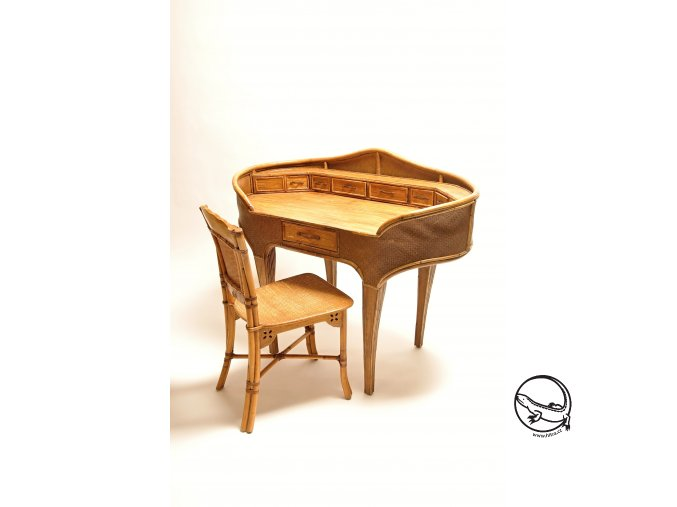Ratanový psací stůl KOLONIÁL vč. židle