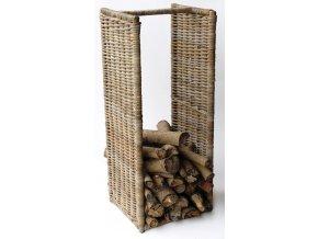 Ratanový stojan-koš na dřevo grey vysoký 100 cm