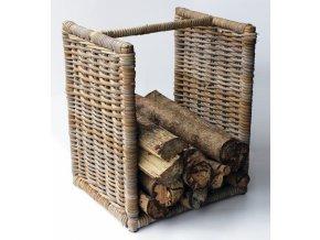 Ratanový stojan na dřevo grey nízký 50 cm
