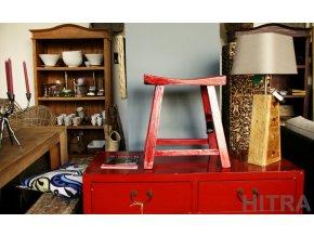 Dřevěná  stolička/ sedlo červená (3907002)