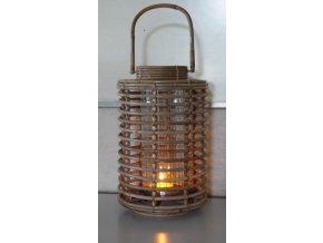 Ratanový lampion JAWIT grey hrana + sklo