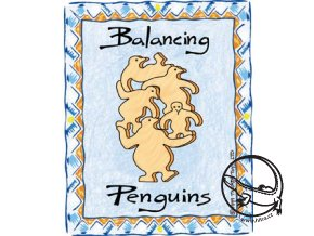 Dřevěná interaktivní hračka - balancující tučňáci
