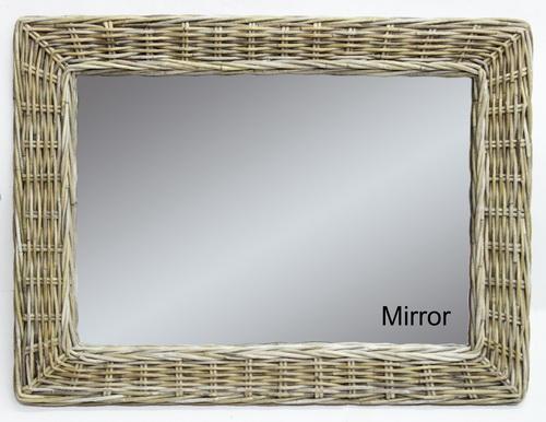 Ratanové zrcadlo NEW 85x65 kubu grey